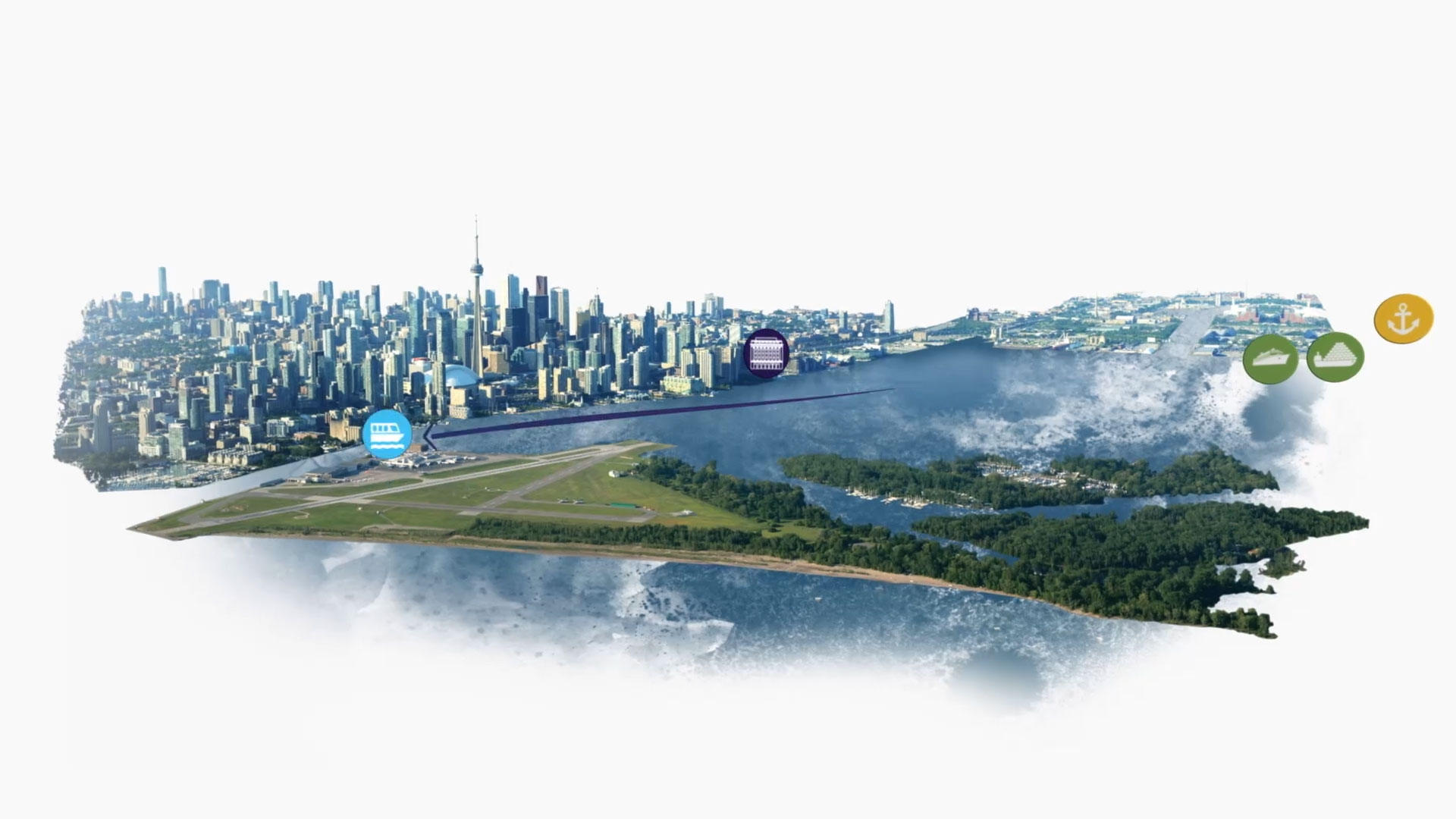 toronto island airport and city scape