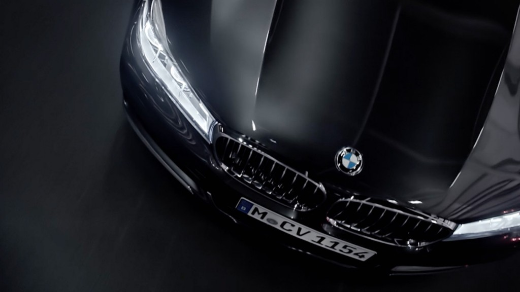 hood of bmw 7 series car